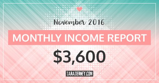 Monthly Blogging Income Report – November 2016