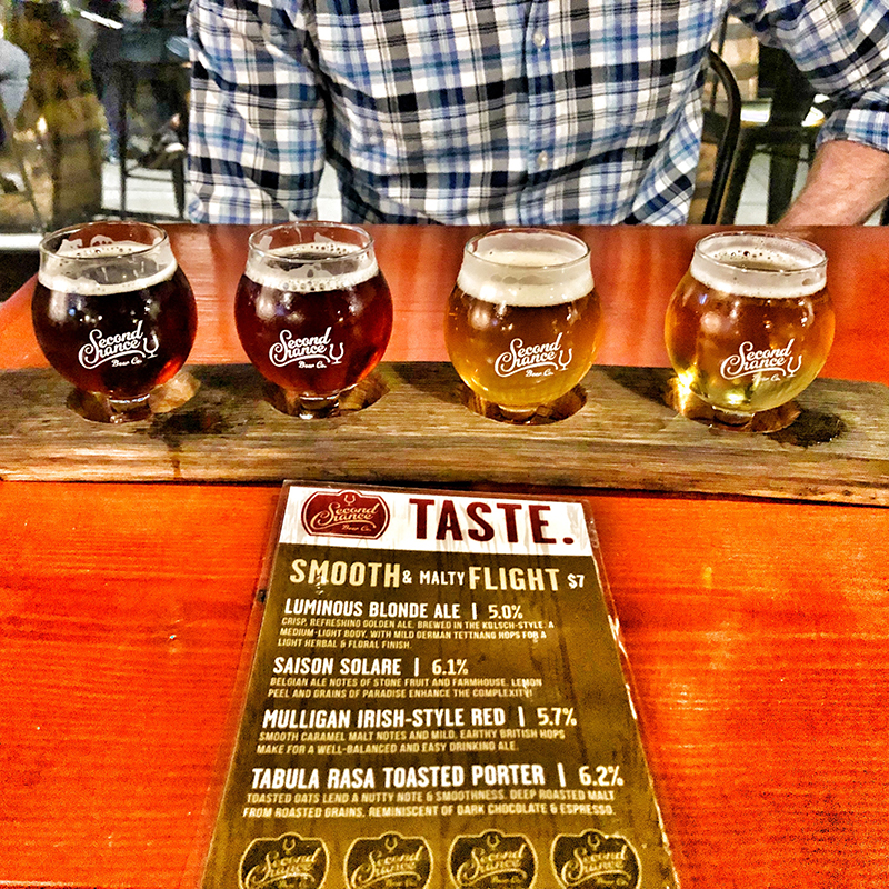 Smooth + Malty Flight at the Second Chance Beer Co.
